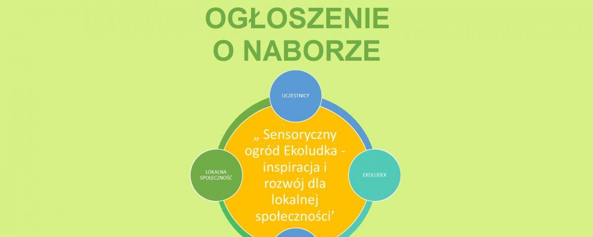 Ogłoszenie o naborze do projektu Sensoryczny ogród Ekoludka - inspiracja i rozwój dla lokalnej społeczności.